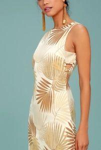 NWT | Lulu's Gold Palm Dress